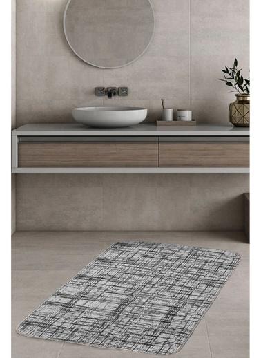 Hamur Braid 75x125 cm Banyo Paspası Kaymaz Taban Banyo Halısı Gri